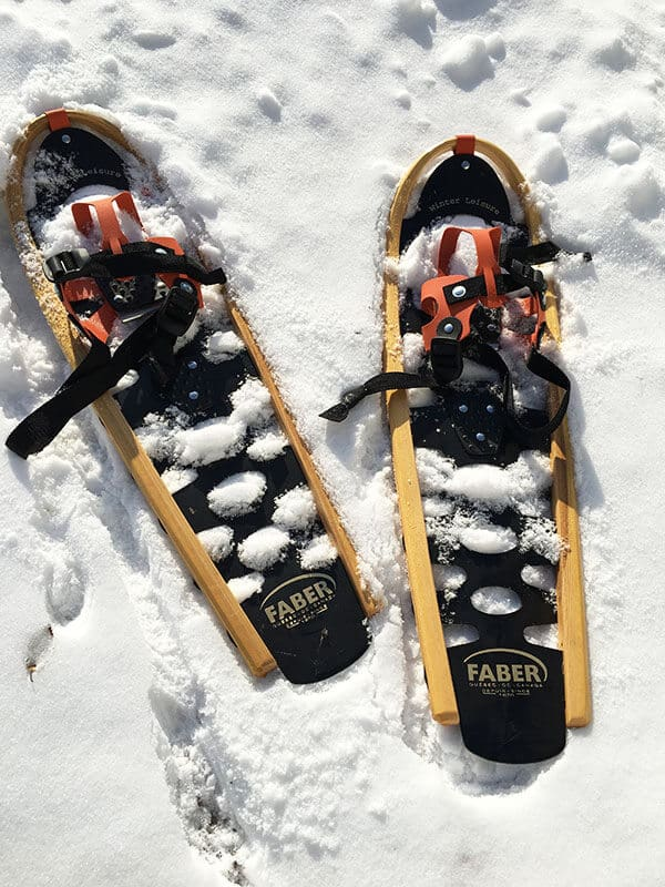 Snow shoes sitting on light fluffy snow