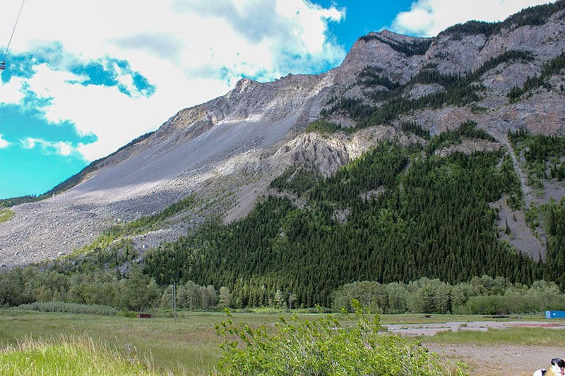 Turtle Mountain on a bright sunny day. Turtle Mountain was involved in the landslide now known as Frank Slide in Alberta Canada