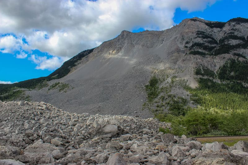 Frank Slide - Turtle Mountain in Frank Alberta landslide