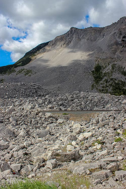 Frank Slide - Boulders are scattered all over the ground below Turtle Mountain. Location of the 1903 landslide in Frank Alberta.