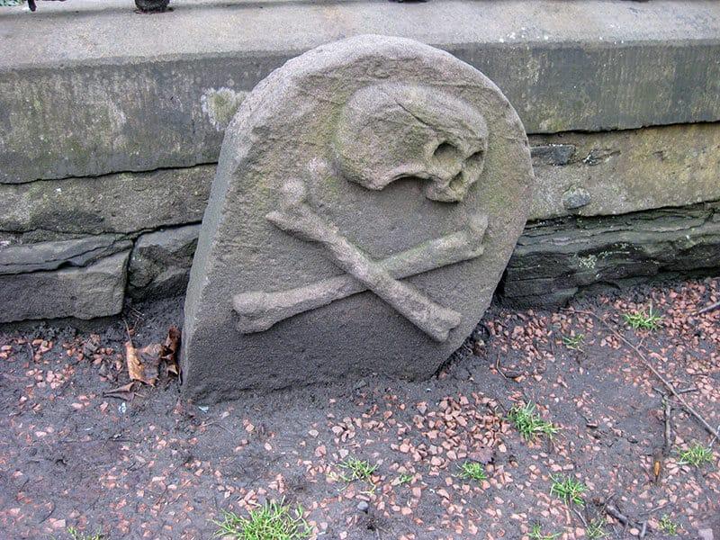 Skull and crossbones grave stone in Greyfriars Kirkyard