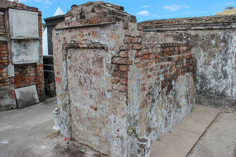 The tomb of Marie Laveau - The Voodoo Queen of New Orleans in St. Louis Cemetery No. 1. The Dark side of New Orleans can be seen in this spooky cemetery.