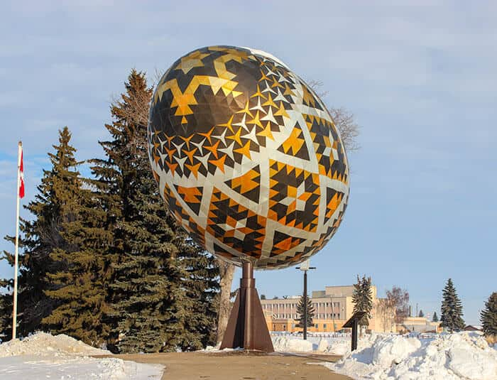 World's Biggest Ukrainian Easter Egg - the Pysanka in Vegreville Alberta Canada. Giant Roadside Attraction!