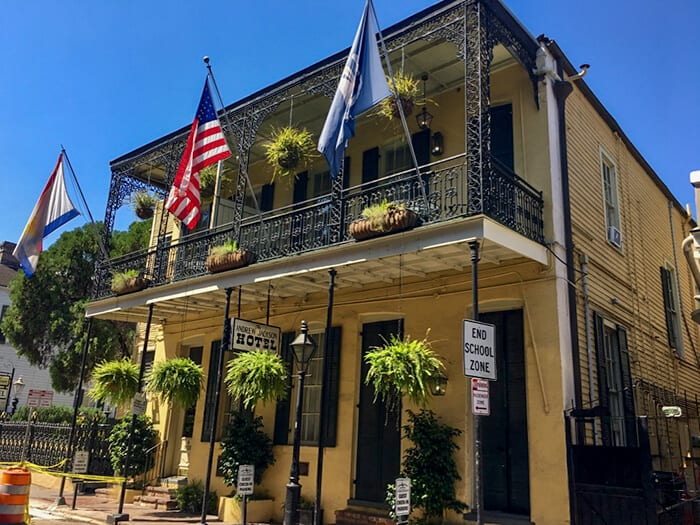 The outside of the Andrew Jackson Hotel in New Orleans