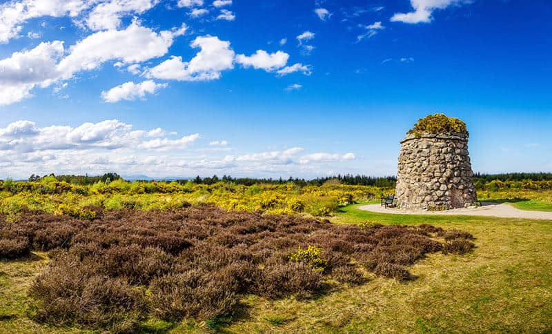 The memorial cairn in the mashy Culloden Moor in Scotland