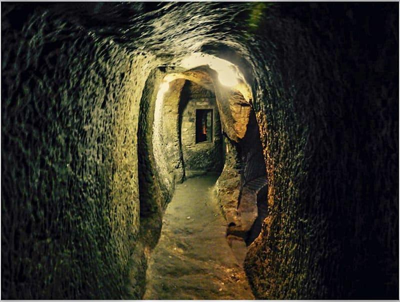 Inside the tunnels of the Gilmerton Cove in Edinburgh Scotland
