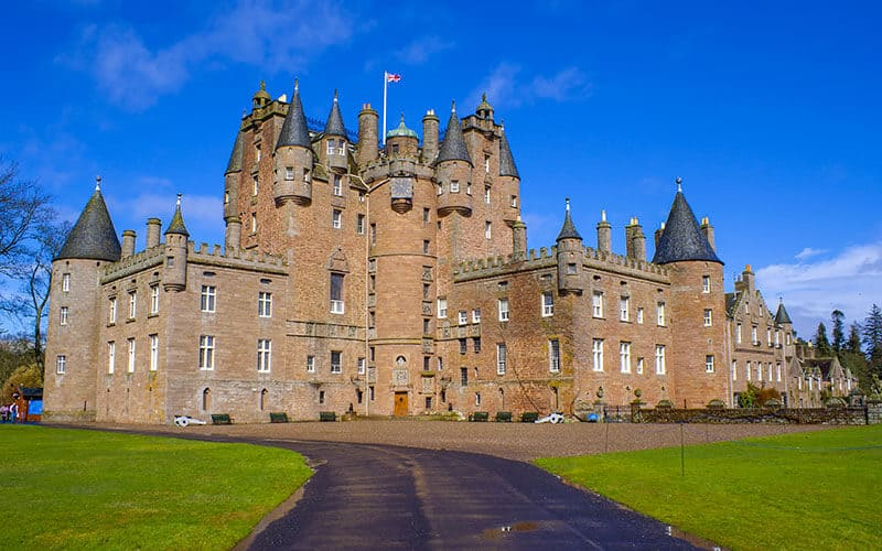 Glamis Castle in the sun in Scotland