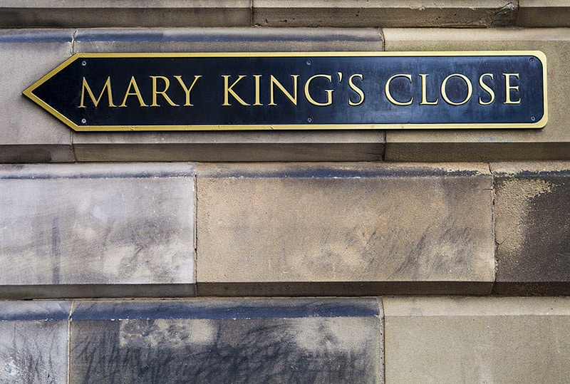 Mary King's Close Sign on wall