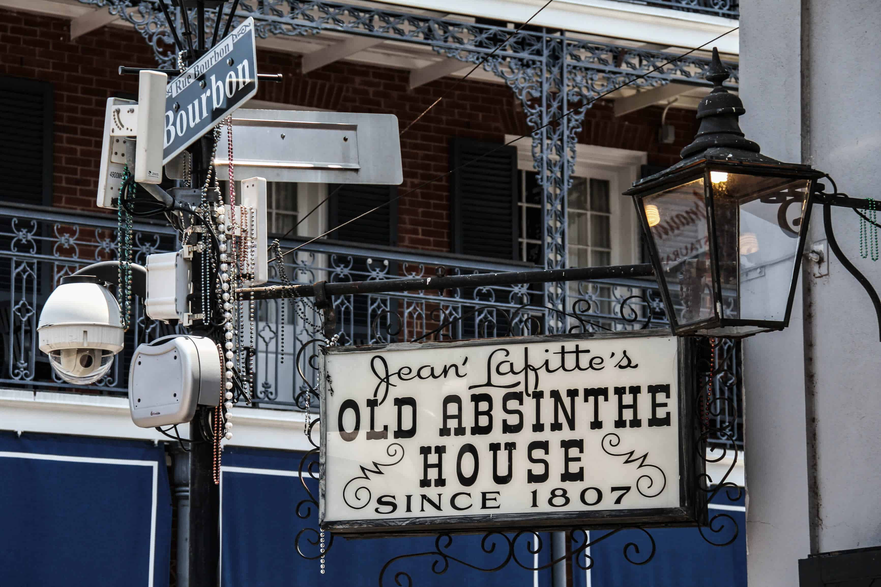 Jean Lafitte's Old Absinthe House sign in New Orleans