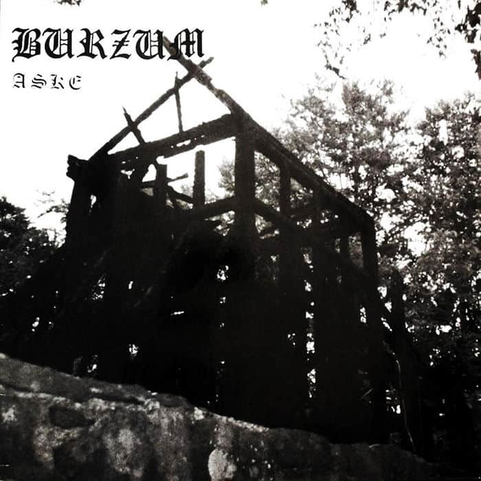 Burzum's album cover with the ashes of the Fantoft Stave Church