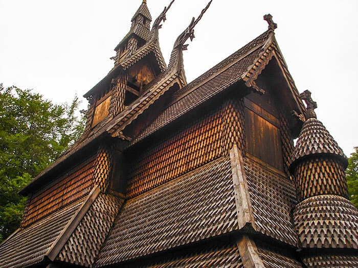 Intricate designs of the wooden roof of the Norway church - carvings of dragons and similar carvings to a Norwegian Viking Ship