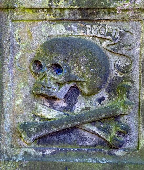 Skeleton engraved on an old tombstone in Greyfriars Kirkyard