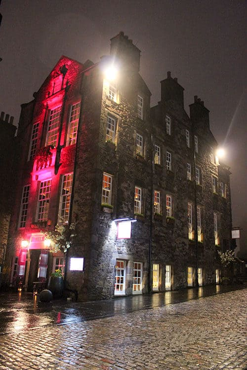 The Witchery by the Castle in a rainy evening