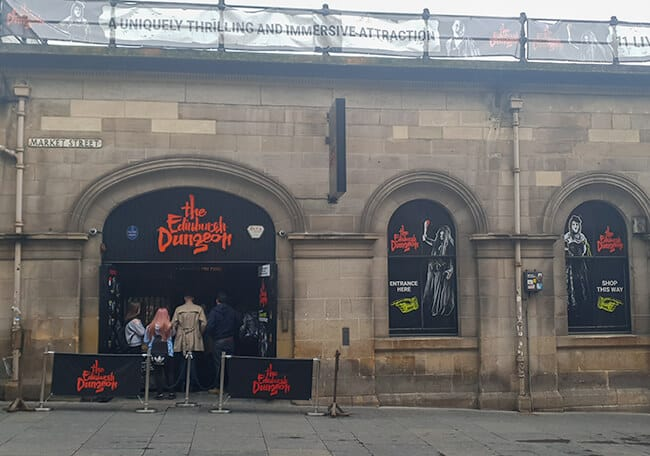 The entrance to the spooky and scary Edinburgh Dungeon.
