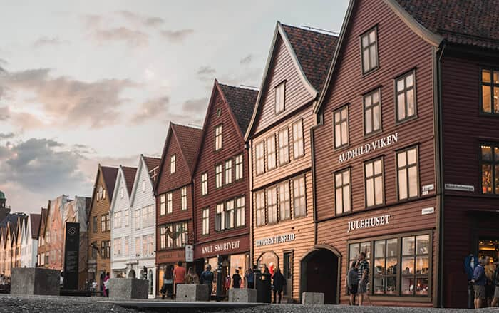 Bergen Wooden Buildings in the sunset