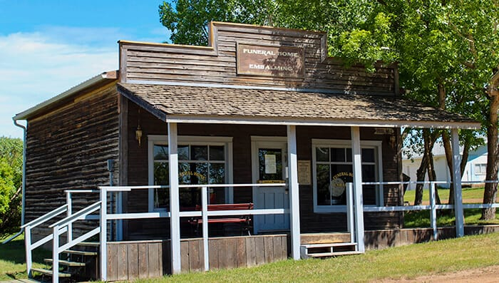 Funeral Home and Embalming - Wooden Western Style building which the store front was made to be used in a film