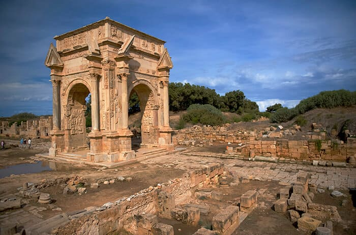 The main gate to the spectacular ruins of Leptis Magna