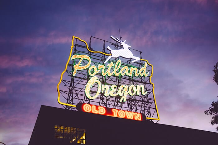 Portland Oregon Fluorescent Sign