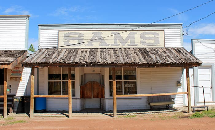 Sams Saloon in historic Ghost Town Rowley. Western style wooden building, with swinging wooden saloon doors.