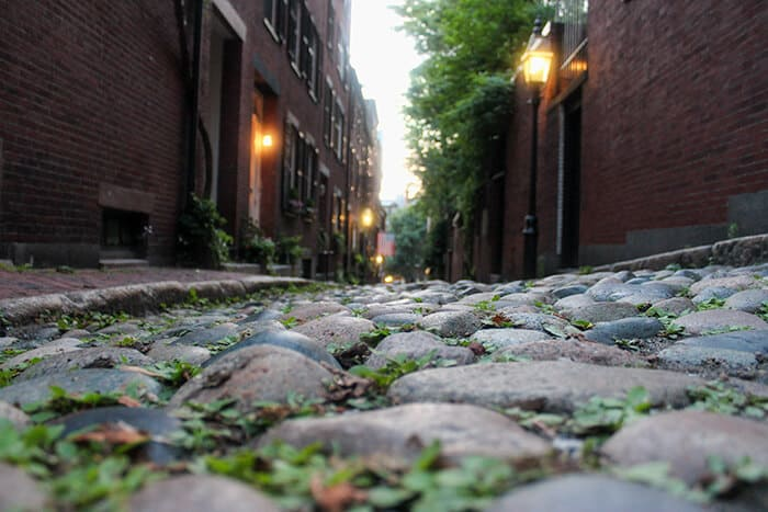 Acorn Street in Boston - Close up image of the cobblestone street