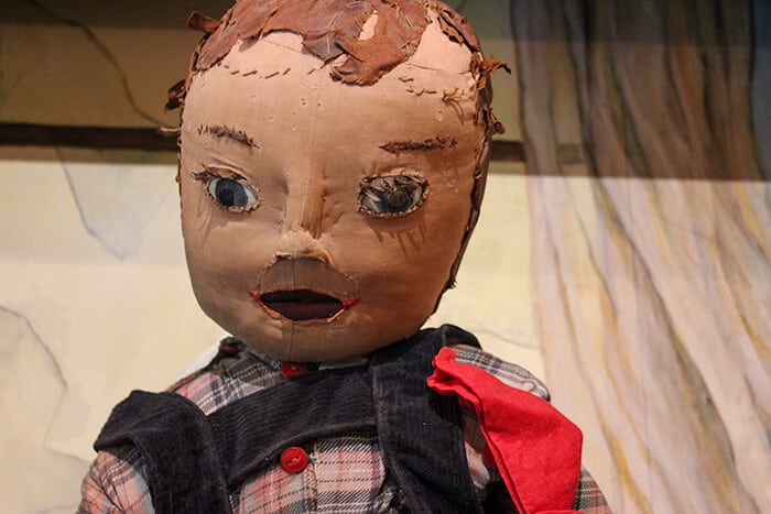 Close up of Kiddo the dolls face - doll is made of leather and textiles