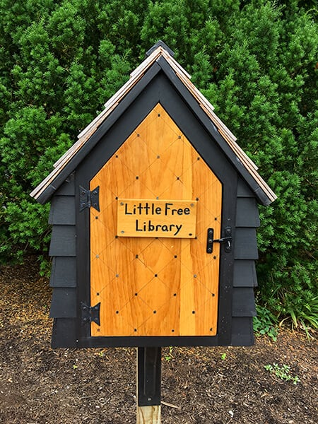 "Little black box shaped like a house with a brown wooden door with a sign that says ""Little Free Library"" in Salem Massachusetts"
