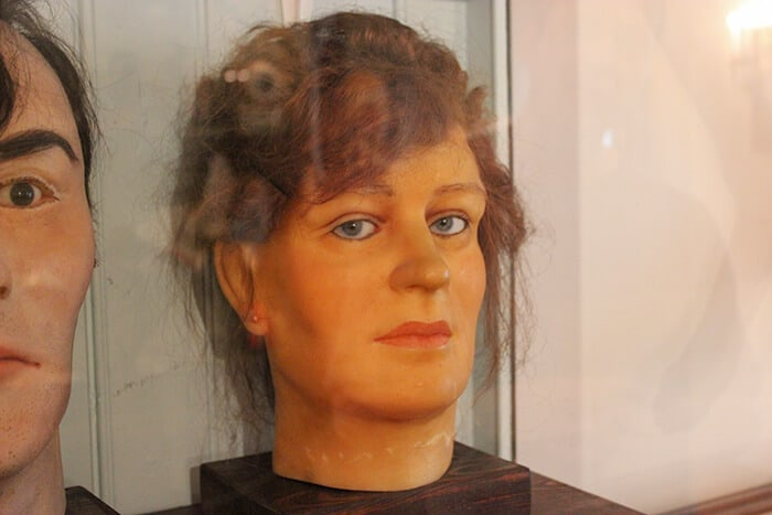 Wax head of serial killer Lizzie Borden at the Museum of Fear and Wonder