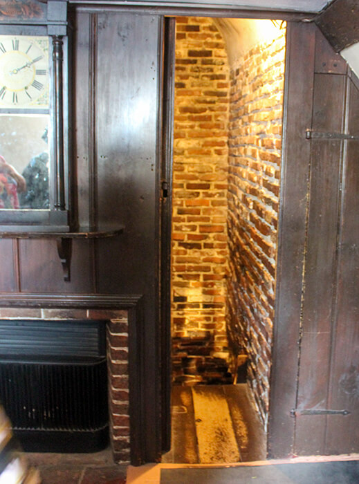 A very small thin hidden stairwell inside the walls at the House of the Seven Gables in Salem