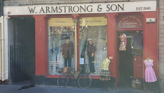 The store front of the vintage clothing shop Armstrong's Vintage - W. Armstrong & Sons store