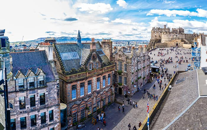 View of Royal Mile and Edinburgh Castle from above showing Edinburgh is a walkable city and a great place to move