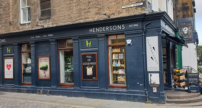 The storefront of Hendersons Vegetarian Restaurant in Edinburgh Scotland - one of the reasons to move to Scotland