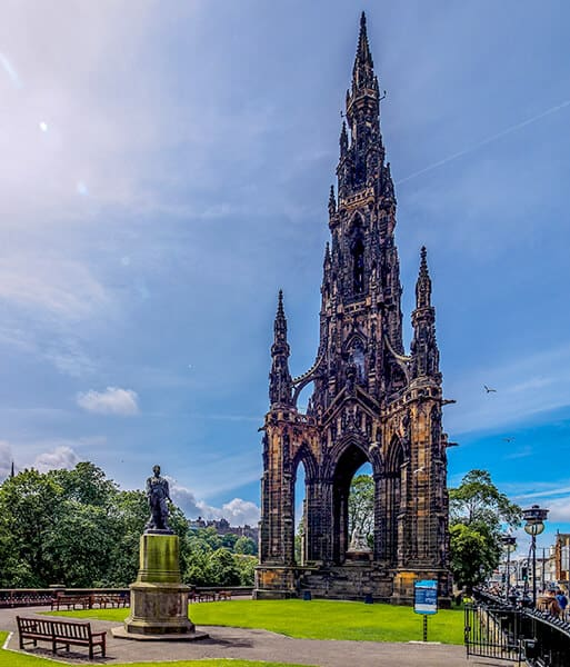 Huge gothic monument called Scott Monument in Princes Street Gardens in Edinburgh