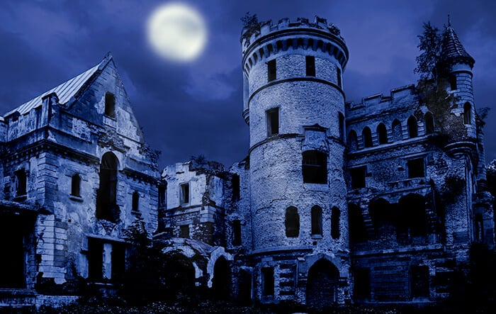 Abandoned Castle at night