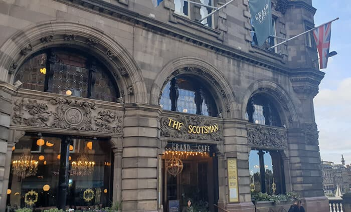 The front of the old building now used as a hotel. The haunted hotel in Scotland known as The Scotsman Hotel. Haunted Hotels in Scotland