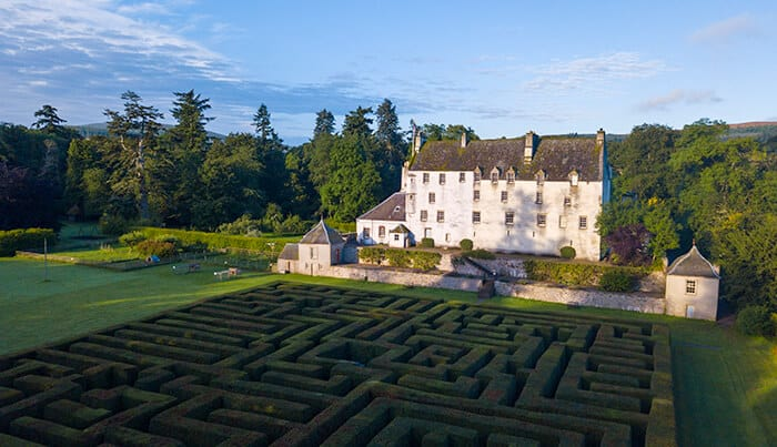 Large white historic house with a huge hedge maze in the foreground
