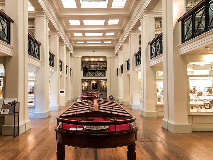 The lower level of the Wohl Pathology Museum in the Surgeons Hall Museum in Edinburgh