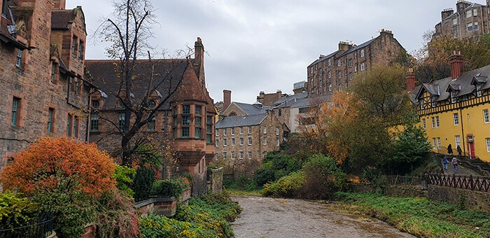 Dean Village - quaint little Edinburgh village with the water of Leith running in between brick buildings
