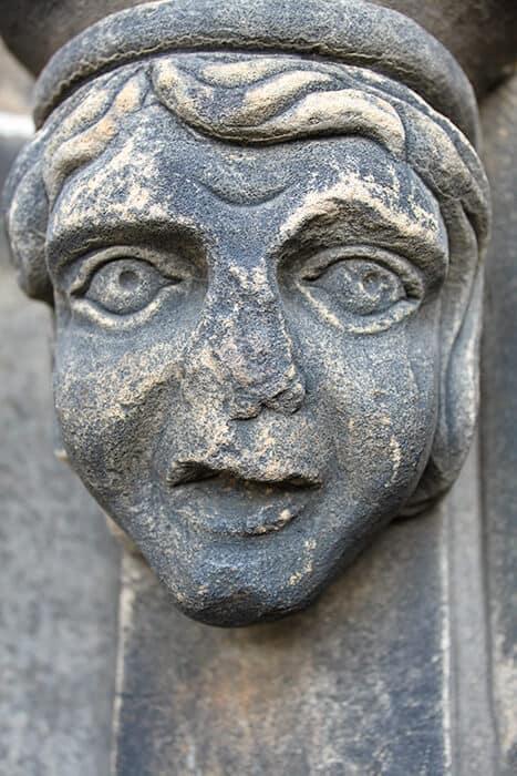 Stone face on the Scott Monument in Edinburgh