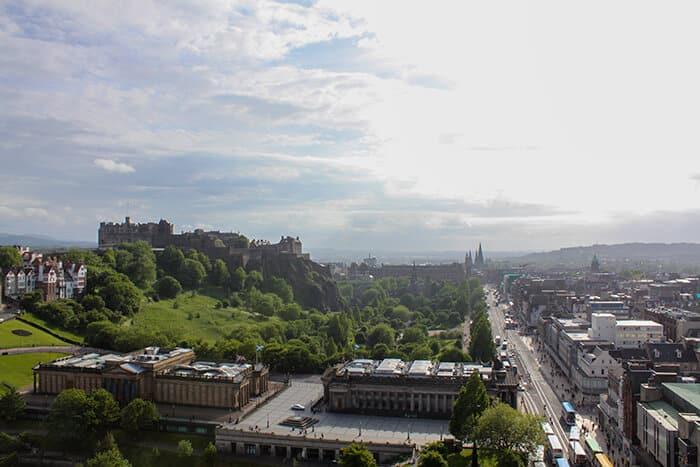 Views of Edinburgh - Princes Street, the galleries and Edinburgh Castle