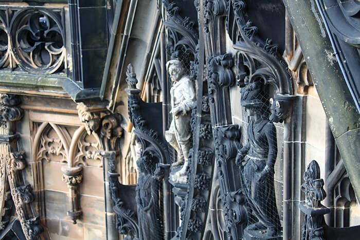 Statues and carvings attached to the Scott Monument in Edinburgh
