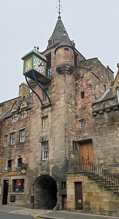 The clock tower at the Tolbooth Tavern in Edinburgh