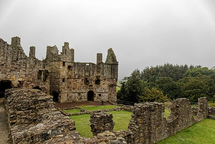 Ruins of a medieval fortress in North Berwick Scotland