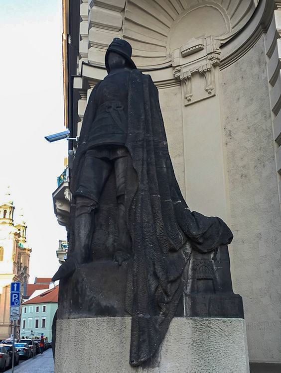 Statue of the Iron Knight in Prague. Black statue that is tied to Ghost Stories and Legends from Prague.
