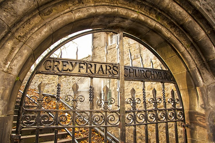 Iron gates of the Greyfriar's Churchyard entrance in Edinburgh Scotland