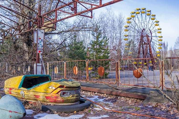 The abandoned city or Pripyat in Ukraine
