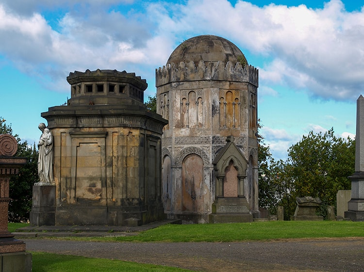 Two large mausoleums in the haunted places in Glasgow in the Glasgow Necropolis