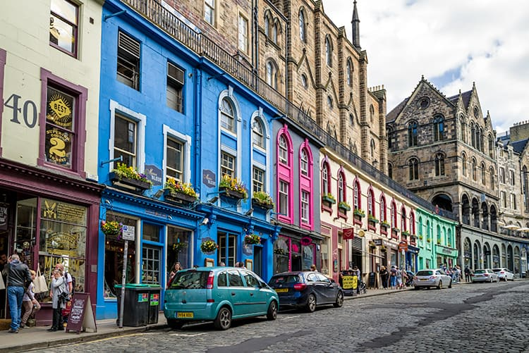 Colorful buildings, cobblestone streets of Victoria Street is a things to do in Edinburgh Scotland