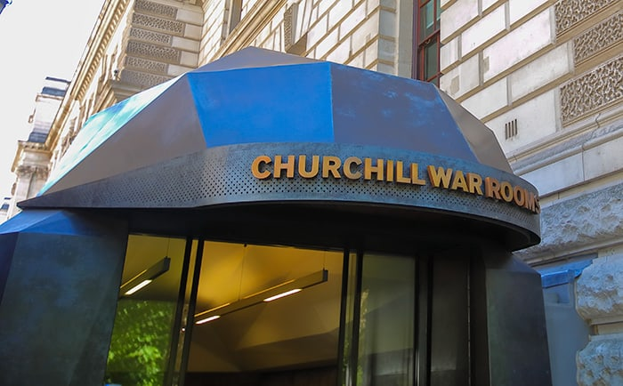 Entrance to the Churchill War Rooms in London is one of the places with dark history in England