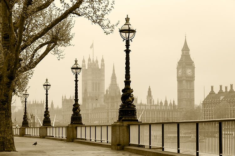 London skyline covered in a thin layer of fog is Places to Visit with a Dark History in England