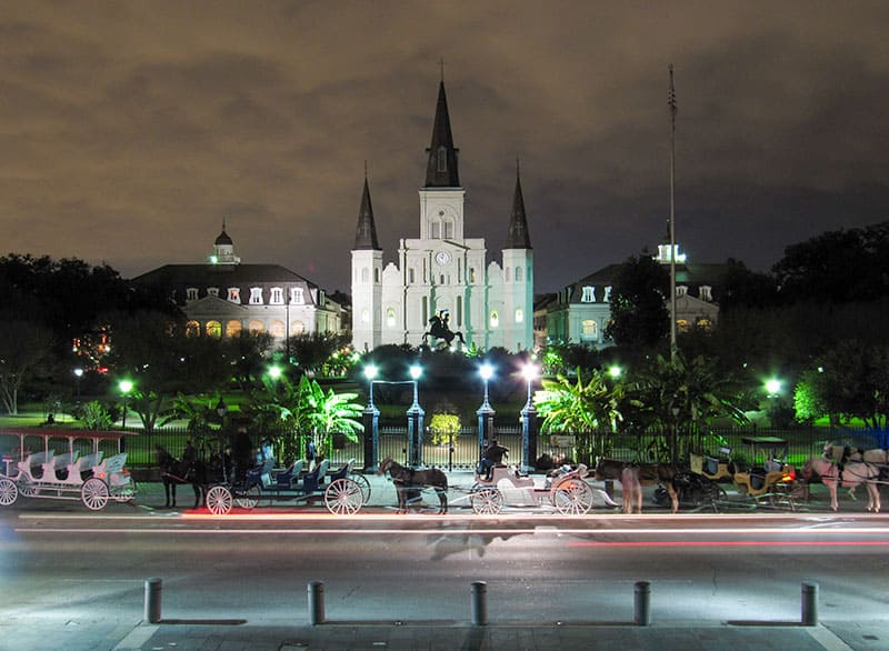 New Orleans St Louis Cathedral & Jackson Square at night